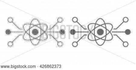 Dot Halftone Quantum Circuit Icon. Vector Halftone Concept Of Quantum Circuit Icon Combined Of Circl