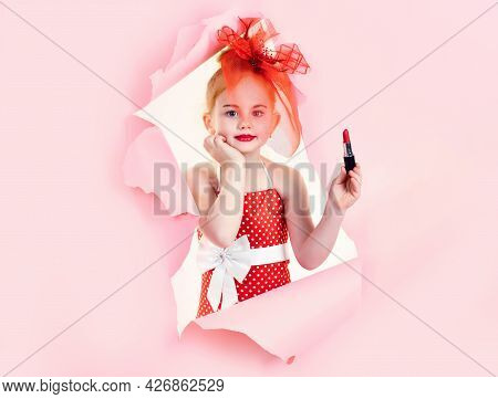 Fashion And Beauty, Pinup Style And Childhood. Fashion And Beauty