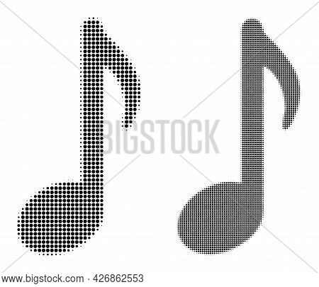 Dot Halftone Music Note Icon. Vector Halftone Pattern Of Music Note Icon Designed Of Spheric Items.