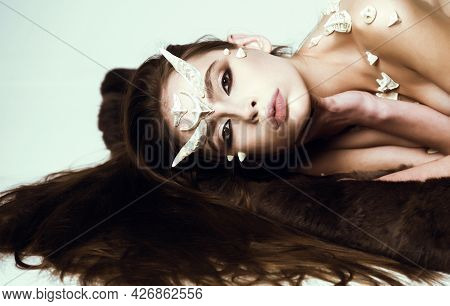 Demon With Horns And Thorns Fashionable Style. Halloween Fictional Creature Make Up. Magical Horror