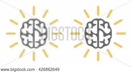Dot Halftone Mind Light Icon. Vector Halftone Mosaic Of Mind Light Icon Formed Of Circle Dots.