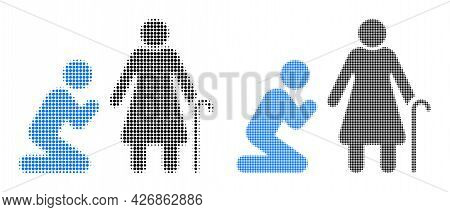 Pixelated Halftone Man Pray For Grandmother Icon. Vector Halftone Collage Of Man Pray For Grandmothe