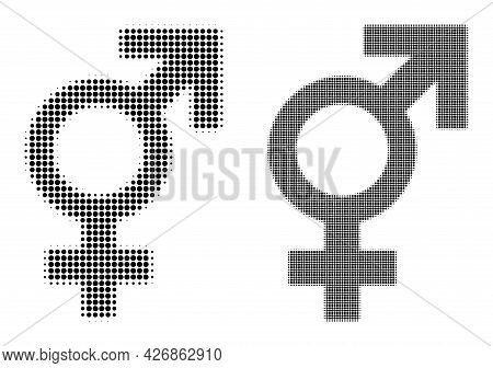 Dot Halftone Sex Symbol Icon. Vector Halftone Pattern Of Sex Symbol Created Of Spheric Pixels.