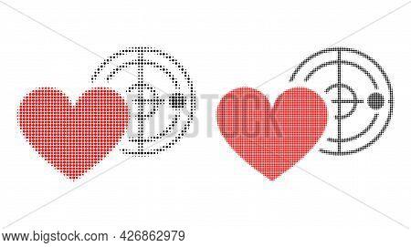 Dotted Halftone Love Heart Radar Icon. Vector Halftone Composition Of Love Heart Radar Icon Designed