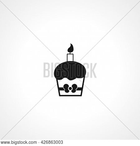 Cupcake With Candle Icon. Cupcake Isolated Simple Vector Icon