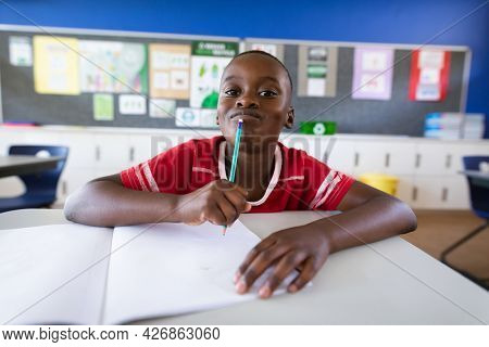 Portrait of african american boy sitting on his desk in the class at elementary school. school and education concept