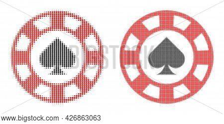 Pixel Halftone Spades Casino Chip Icon. Vector Halftone Mosaic Of Spades Casino Chip Icon Made Of Sp