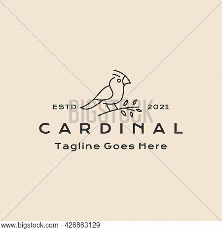 Vintage Hipster Line Art Cardinal Bird Logo Design Vector Illustration