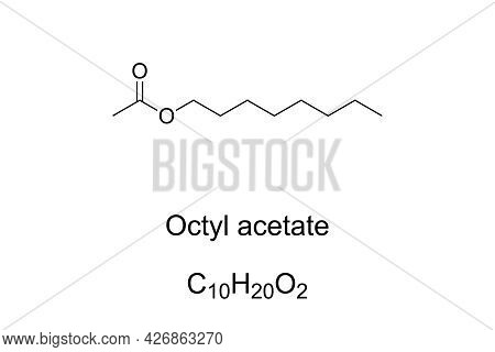 Octyl Acetate, Chemical Formula And Skeletal Structure. Organic Compound, With Fruity Odor, Found In
