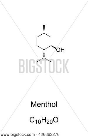 Menthol, Chemical Formula And Skeletal Structure. L-menthol, Organic Compound Naturally Found In Min