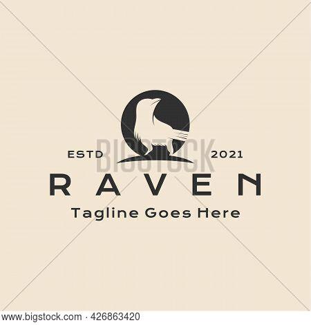 Vintage Hipster Crow Raven Logo Design Vector Illustration