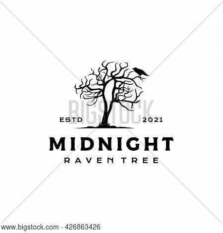 Dark Night Crow Raven With Dead Tree Logo Design Vector