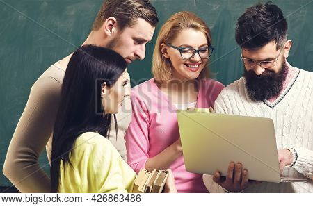 College And University Concept. Group Of Students, Groupmates Spend Time With Teacher, Lecturer, Pro