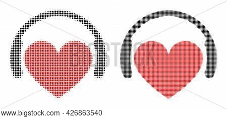 Dot Halftone Love Dj Icon. Vector Halftone Composition Of Love Dj Icon Formed Of Circle Pixels.