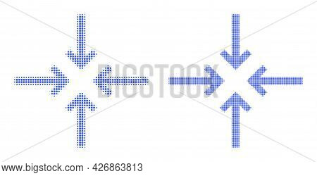Dotted Halftone Reduce Arrows Icon. Vector Halftone Concept Of Reduce Arrows Icon Organized Of Round