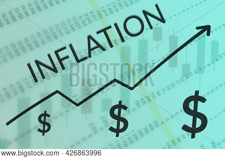 Arrow Of Growth Inflation Process On Blue And Green Background Of Columns Of Numbers And Candle Grap