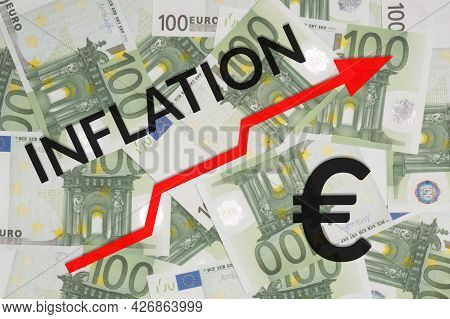 Line Chart With Arrow Of Growth Inflation Process On Euro Banknote Background. World Crisis Concepts