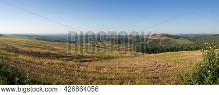 Scenic View Of Hilly Countryside In Village Of Bukovica Near Derventa During Clear Sunny Summer Day.