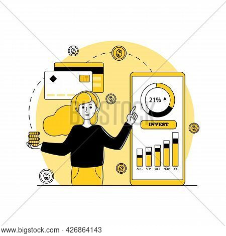 Phone With An Investment Application, Woman With Coins In Her Hand, Investing Money Online. Infograp