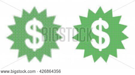 Dotted Halftone Dollar Rosette Icon. Vector Halftone Mosaic Of Dollar Rosette Icon Formed Of Round I