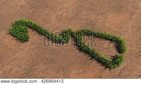Concept or conceptual green summer lawn grass symbol shape on brown soil or earth background, sign of checkup stethoscope. A 3d illustration metaphor for treatment, medicine, health and care
