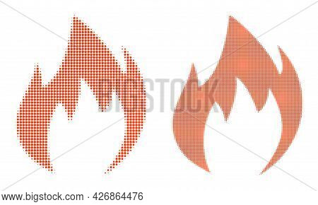 Pixel Halftone Fire Flame Icon. Vector Halftone Pattern Of Fire Flame Icon Formed Of Spheric Element