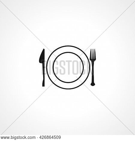 Restaurant Plate, Fork And Knife Icon. Plate, Fork And Knife Isolated Simple Vector Icon