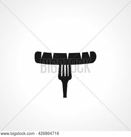 Sausage On Fork Icon. Sausage On Fork Isolated Simple Vector Icon