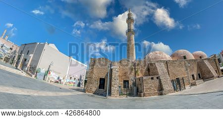 Rethymno, Crete, Greece-june 20,2021: Mikrasiaton Square With Neratze Mosque,dated From 1657,known A