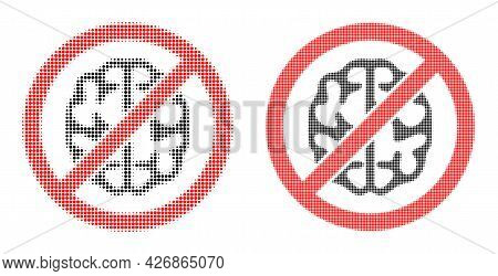 Dotted Halftone Brainless Icon. Vector Halftone Mosaic Of Brainless Icon Organized Of Circle Pixels.