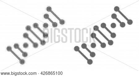 Dotted Halftone Genome Code Icon. Vector Halftone Mosaic Of Genome Code Icon Done Of Spheric Dots.