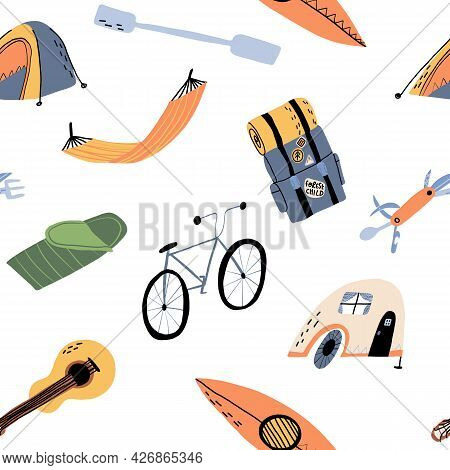 A Camping, Outdoor Pastime Seamless Pattern. A Bike, A Tent, A Camp, A Hammock, Backpack, Sleeping B