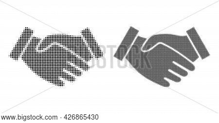 Dotted Halftone Hand Take Icon. Vector Halftone Mosaic Of Hand Take Icon Done Of Round Pixels.