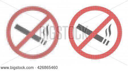 Pixelated Halftone Smoking Forbidden Icon. Vector Halftone Mosaic Of Smoking Forbidden Pictogram Don