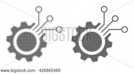 Dot Halftone Electronic Gear Icon. Vector Halftone Collage Of Electronic Gear Icon Designed Of Round
