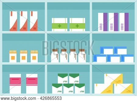 Pharmacy Shelf, Medicine Store Vector , Cartoon Boxes Pills And Containers Drug, Packaging Medicatio