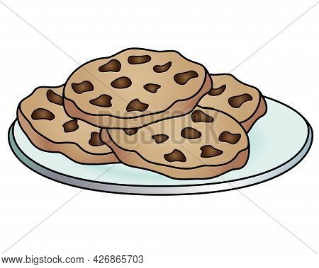 Sweets. Chocolate Chip Cookies On A Plate - Vector Linear Full Color Picture. Chocolate Chip Cookies