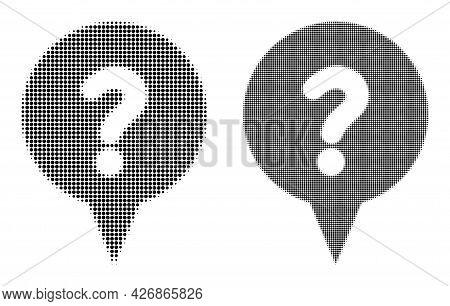 Dot Halftone Question Banner Icon. Vector Halftone Mosaic Of Question Banner Icon Made Of Round Dots