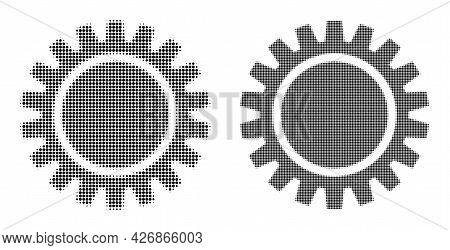Pixel Halftone Cogwheel Icon. Vector Halftone Mosaic Of Cogwheel Icon Done Of Round Items.