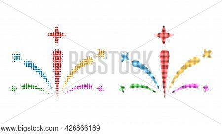 Dot Halftone Salute Fireworks Icon. Vector Halftone Concept Of Salute Fireworks Icon Made Of Circle