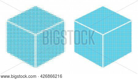 Dotted Halftone Sugar Cube Icon. Vector Halftone Concept Of Sugar Cube Icon Combined Of Circle Items