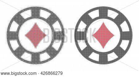 Pixelated Halftone Diamonds Casino Chip Icon. Vector Halftone Pattern Of Diamonds Casino Chip Icon F