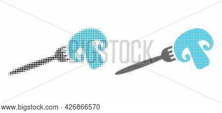 Pixel Halftone Champignon Fork Icon. Vector Halftone Mosaic Of Champignon Fork Icon Designed From Ci