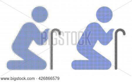 Pixel Halftone Grandfather Pray Icon. Vector Halftone Concept Of Grandfather Pray Icon Constructed O