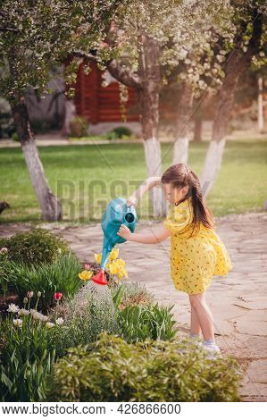 A Girl In A Yellow Dress Is Diligently Watering Tulips From A Watering Can, Water Pours Out Of The W