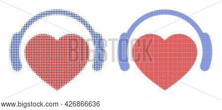 Dot Halftone Romantic Heart Dj Icon. Vector Halftone Pattern Of Romantic Heart Dj Icon Combined Of C