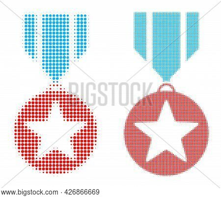 Dotted Halftone Star Medal Icon. Vector Halftone Concept Of Star Medal Icon Constructed Of Spheric P