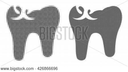 Pixel Halftone Tooth Caries Icon. Vector Halftone Collage Of Tooth Caries Icon Formed Of Round Eleme