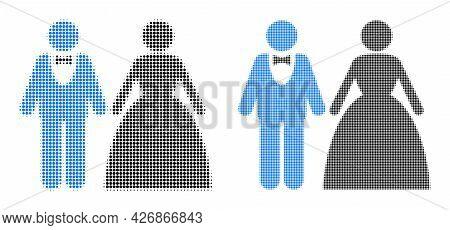 Pixel Halftone Groom With Bride Icon. Vector Halftone Mosaic Of Groom With Bride Icon Created Of Sph