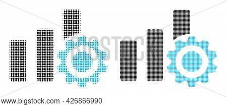 Dot Halftone Bar Chart Settings Icon. Vector Halftone Pattern Of Bar Chart Settings Icon Composed Of